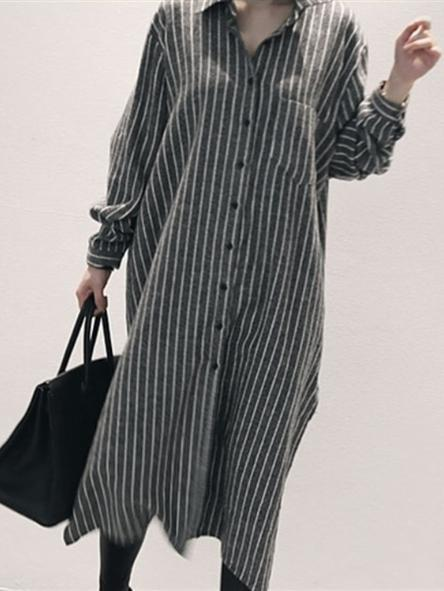 Casual Stripe Comfortable Long Blouses