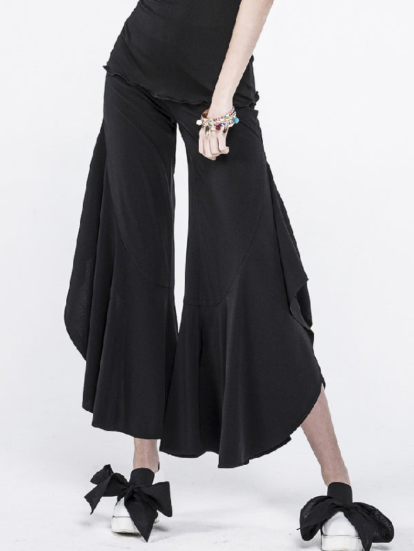 Black Falbala Split-joint Wide-leg Pants