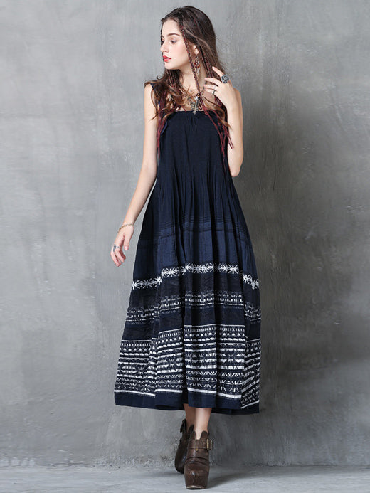 Embroidered National Ruffled Midi Dresses