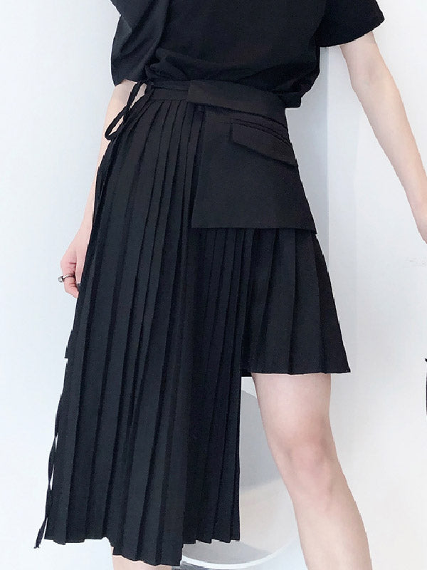 Cropped Designed Pleated Skirt