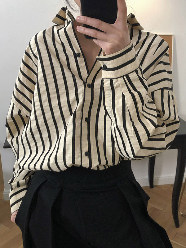 Vintage Stripes Loose Fashion Blouse Top