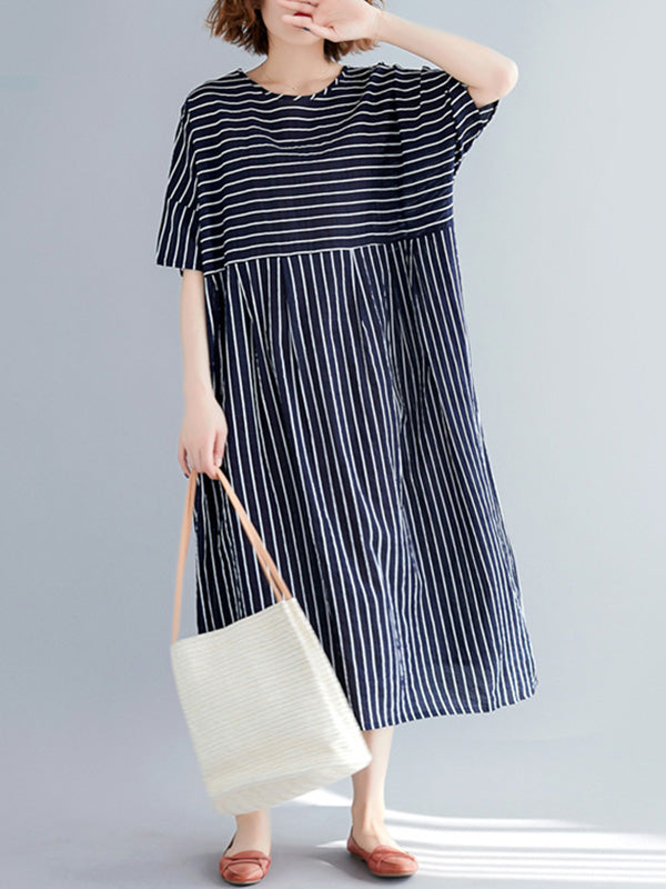 Loose Cotton Striped Dress