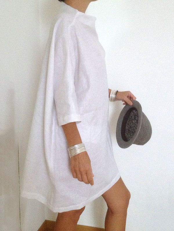 White Batwing Sleeves High-neck Short Dress