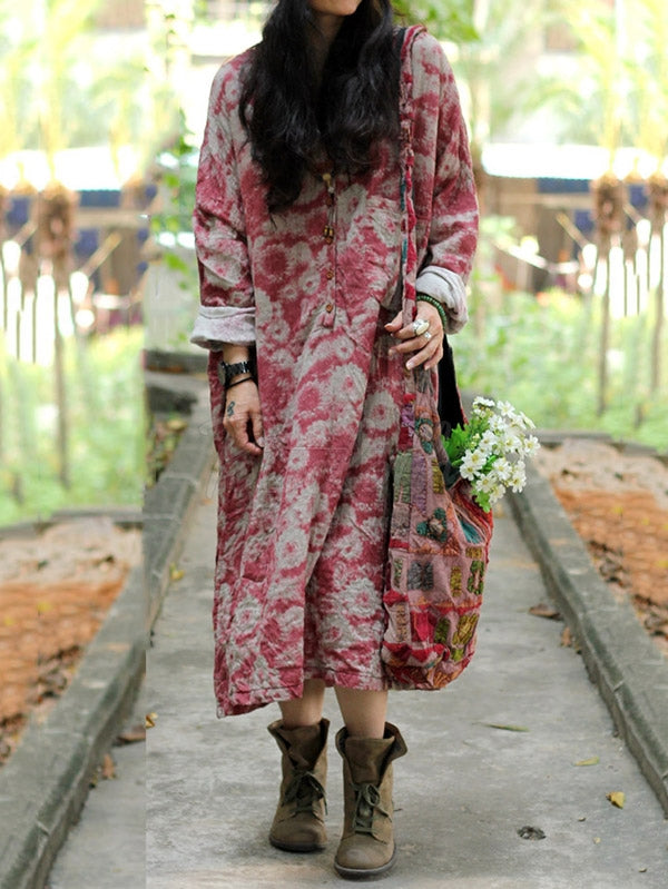Original Ramie Cotton Floral Printed Maxi Dress