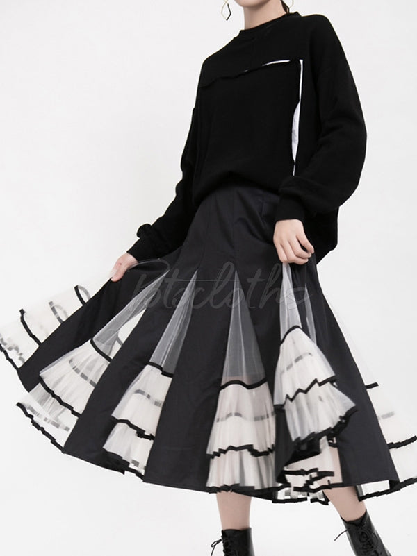 High-Rise Mesh Lace Pleated Skirt