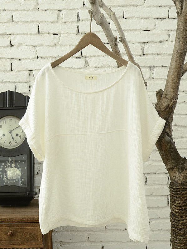 Retro Pure Color Cotton T-shirt