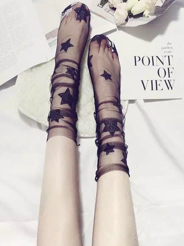 Perspective Mesh Star Print Tube Stocking
