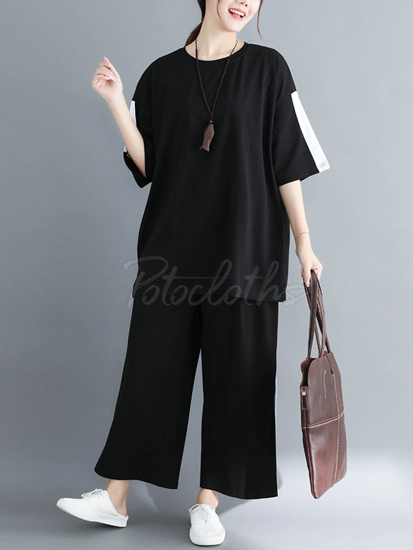 Two-Pieces Loose Colorblock T-Shirt And Pants Set