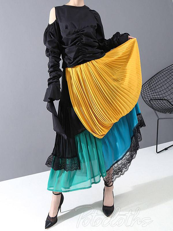 Stylish Cropped Contrast Color Splicing Skirt