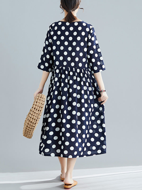 Loose A-line Polka-dot Long Dress