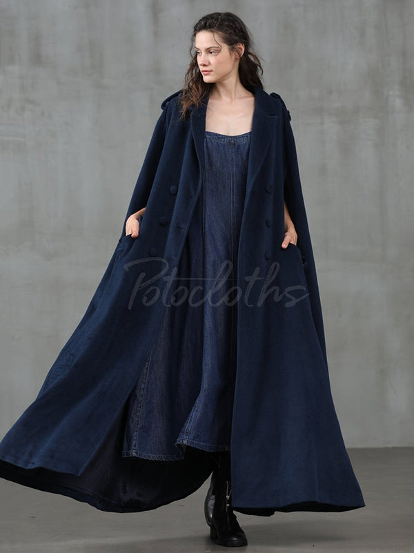 Navy Blue Elegance Loose Lapel Cape Outwear