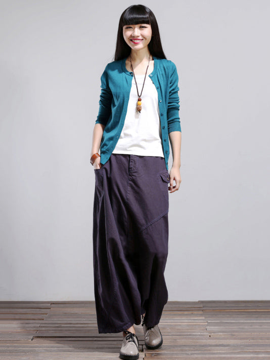 Loose Purple Split-joint Harem Pants