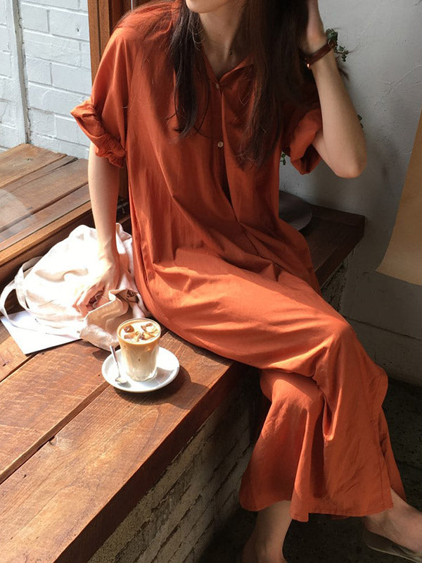 Oversize Solid V-neck Blouse Dress