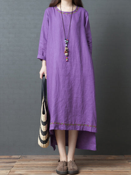 Solid Round-neck Loose Long Dress