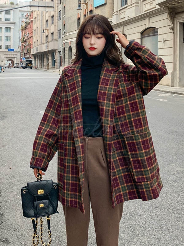 Plaid Suit Collar Short Casual Woolen Coat