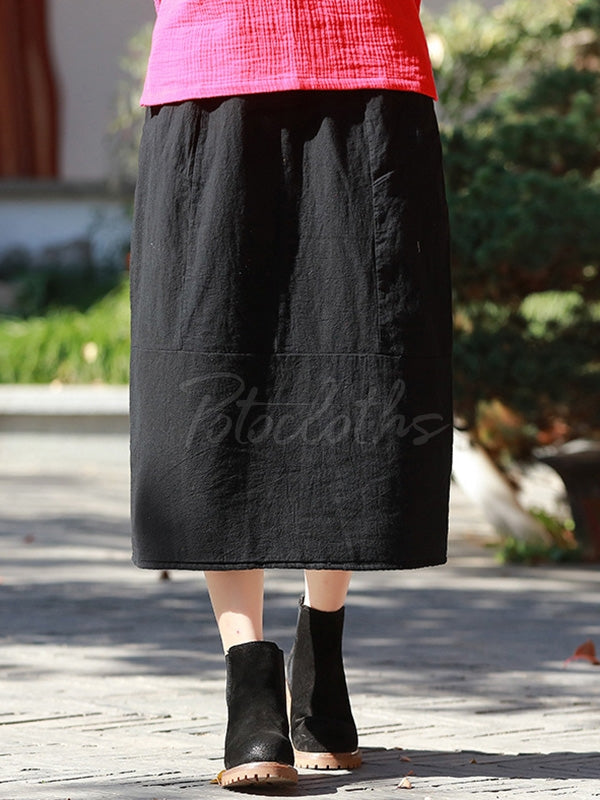 Loose Split-Joint Cotton-Padded Skirt