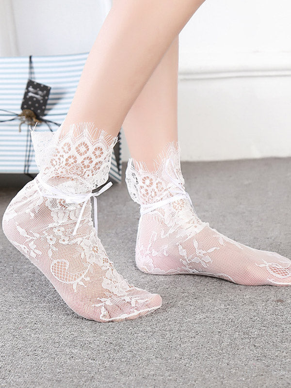 Vintage Lacy Mesh Hollow Mid-calf Length Socks