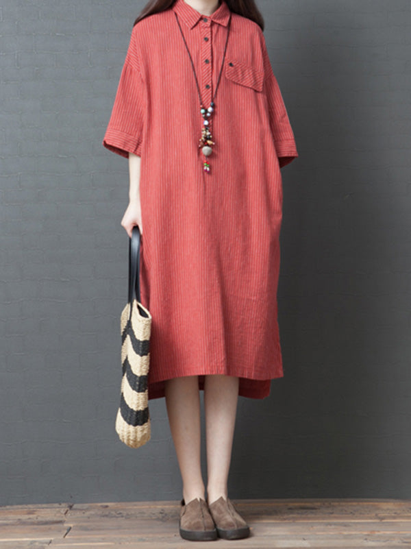Casual Striped Cotton Long Shirt Dress