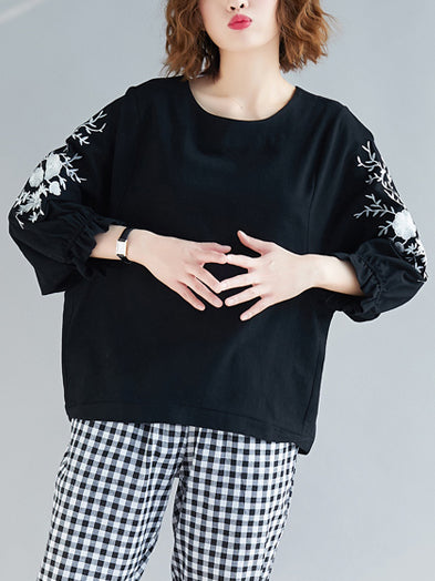 4 Colors Ramie Cotton Embroidered Puff Sleeves T-shirt