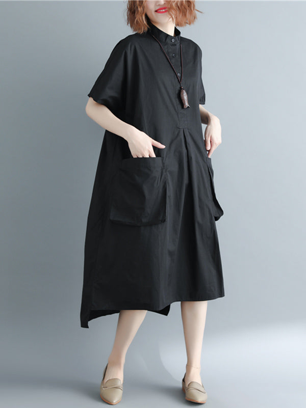 Casual Black Shirt Long Dress