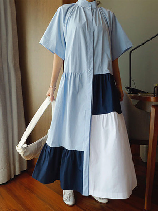 Loose Split-joint A-line Long Dress