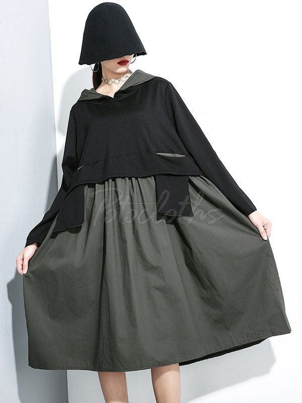 False Two Split-joint Hoodie Dress