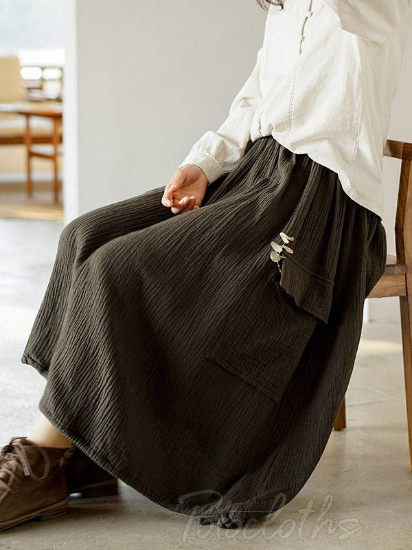 Simple Solid Pocket Skirt