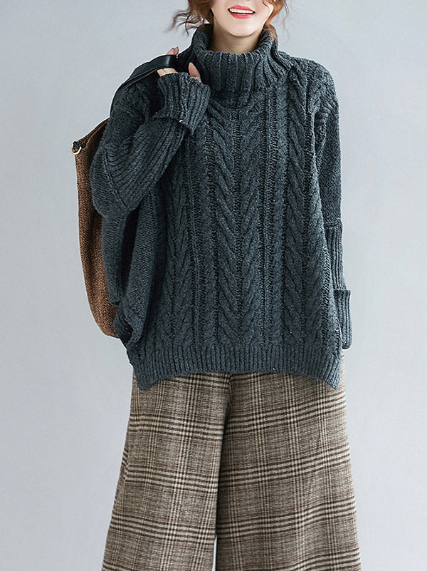 Cable- Knit High-neck Solid Loose Sweater