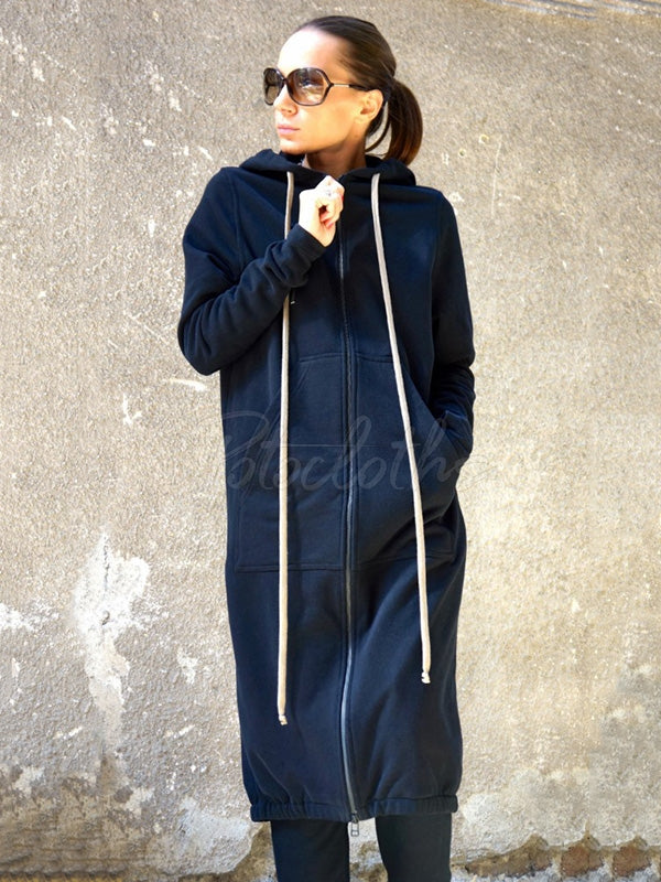 Navy-Blue Warm Zipper Long Outwear