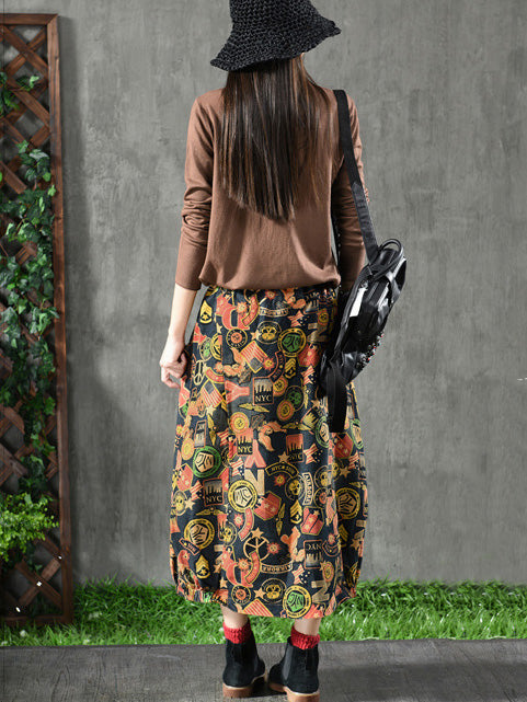 Loose Printed A-line Skirt Bottom