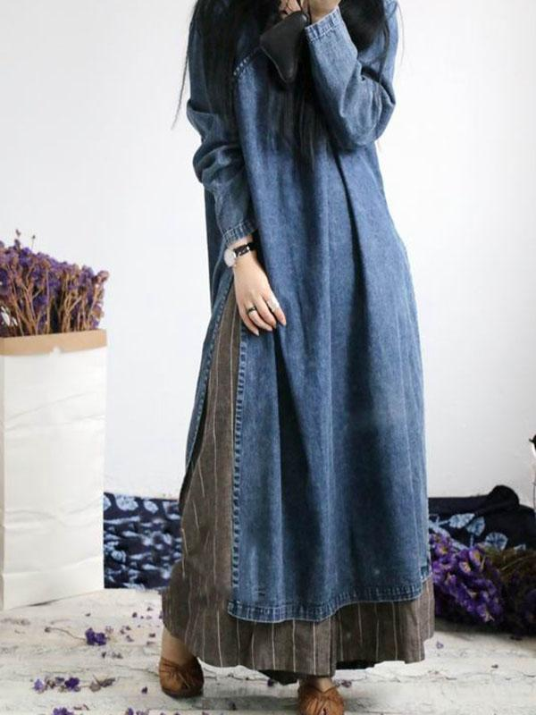 Loose Button Split-side Jeans Long Dress