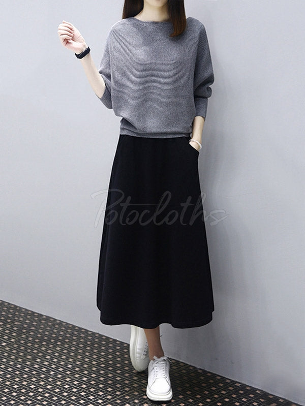 Loose Knitting Sweater And Skirt Suits