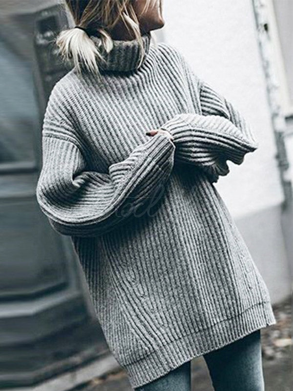Casual High-neck Pullover Knitting Sweater