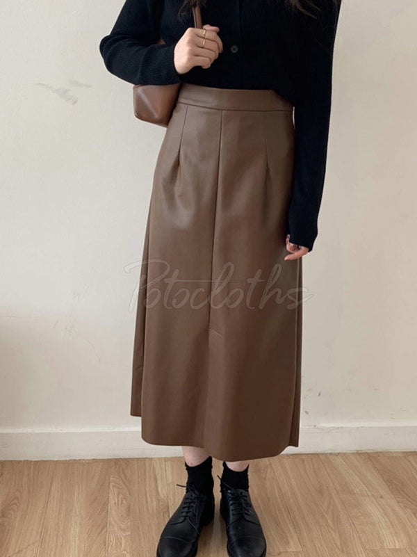 Empire A-Line Solid Color PU Skirt