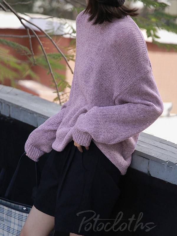 Loose Solid Color Casual Round Neck Sweater