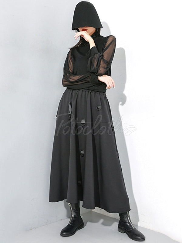 Black Elastic Waist Stitching Cropped Skirt