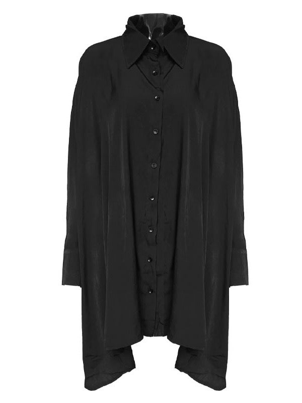 Super Loose A-Line Black Long Shirt Dress