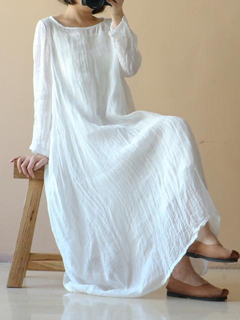 Pure Color Ruffled Round-neck Long Dress