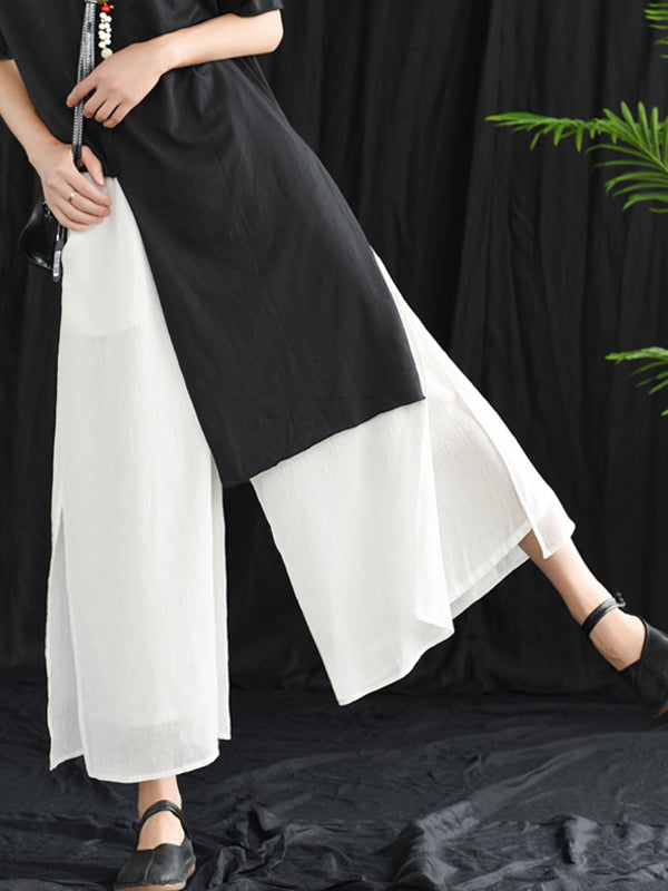 Loose False-two Split-side Pants