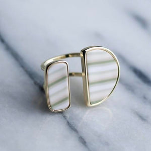 Linen 14K Gold Double Cocktail Ring