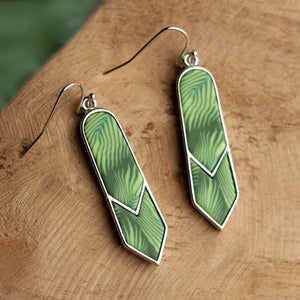 Botanical Green Rhodium Double Arrow Earrings