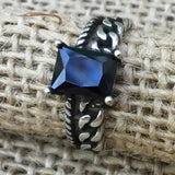Sterling Silver Ring -Double Band Black Crystal