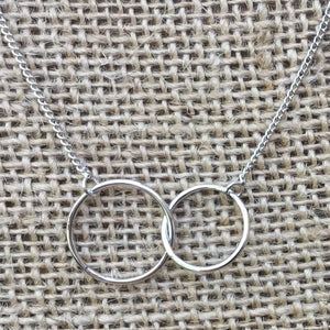 Sterling Silver Necklace - Linked Rings