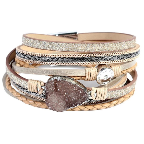 Gold Druzy Crystal Double Wrap Bracelet