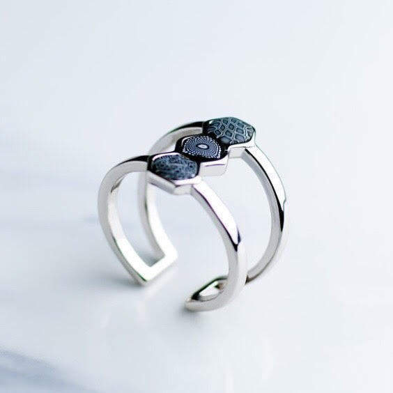 Black White Rhodium Hexagon Ring
