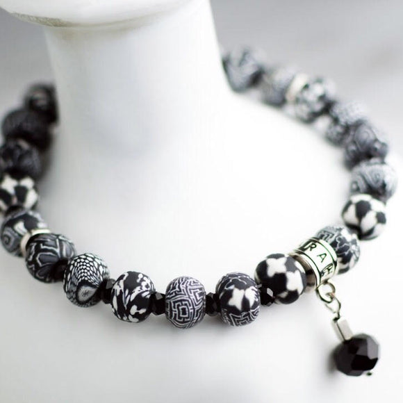 Black White Clay Bead Bracelet