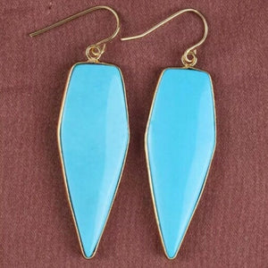 Elongated Hex Earrings - Turquoise/Gold