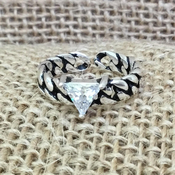 Sterling Silver Ring - Triangular Crystal