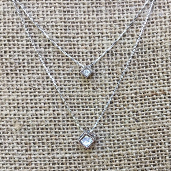 Sterling Silver Necklace - Double Layer Crystals in Cubes Pendants