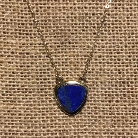 Trifoil Necklace - Lapis/Gold